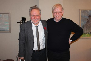 Dennis Bolen and PWB at a Royal City Literary Arts Society reading in 2013